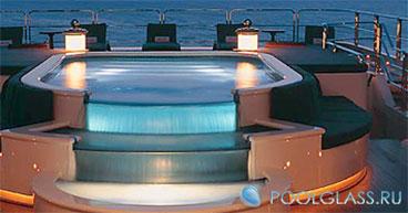 Прозрачный бассейн с подсветкой