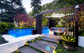 Стеклянный прозрачный бассейн
