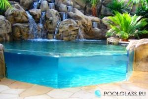 Стеклянная стена бассейна